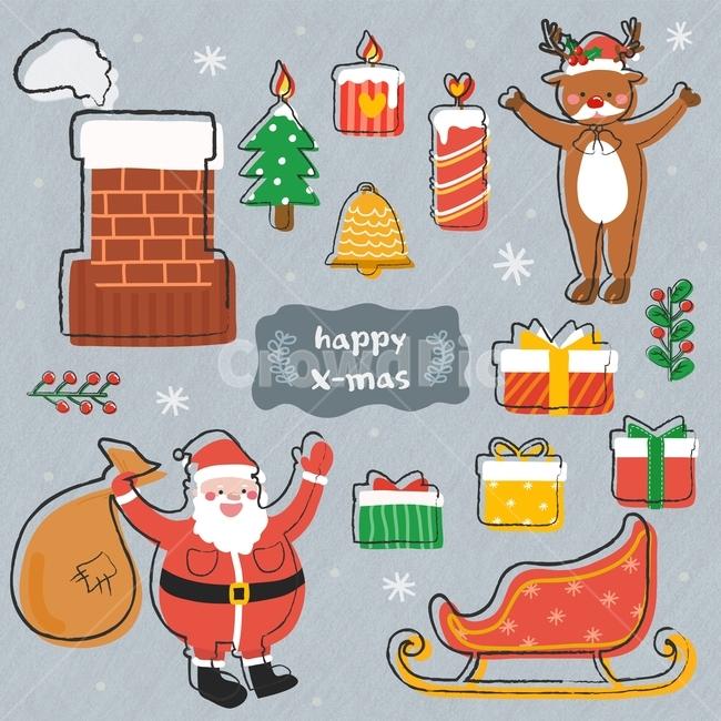 산타, 루돌프, 선물상자, 양초, 크리스마스
