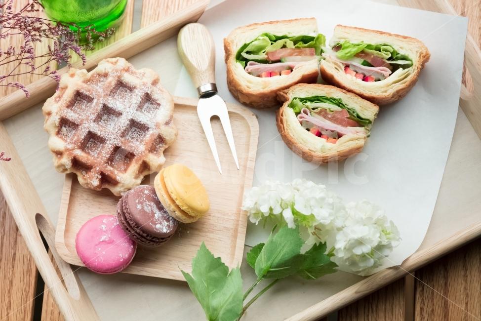 샌드위치, 간식, 와플, 마카롱, 음식