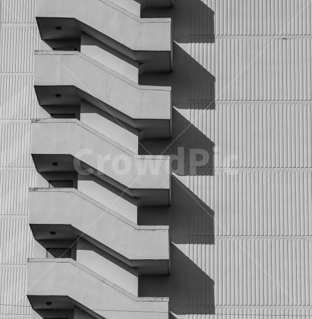 아파트, 계단, 건축, 건축물, 입면