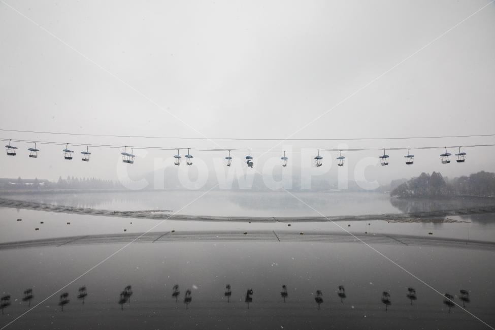 겨울, 풍경, 반영, 리프트, 서울대공원