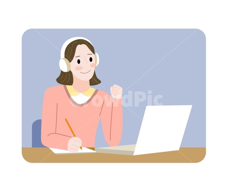삽화, 노트북, 온라인, 온라인교육, 공부