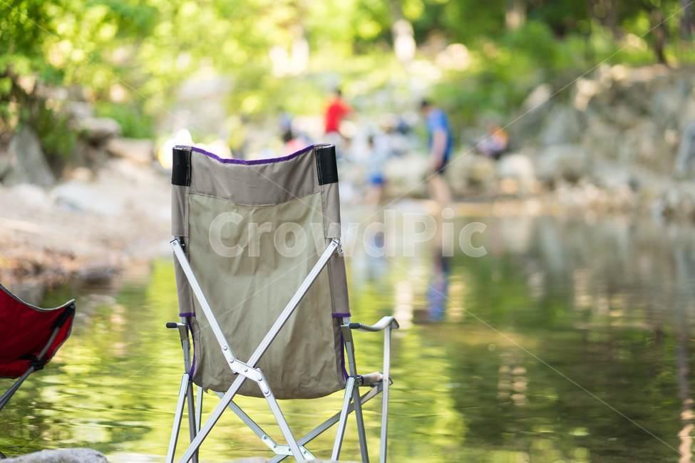 캠핑, 계곡, 물놀이, 의자, 여행