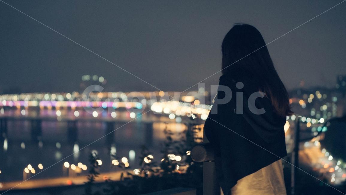 인물, 야경, 밤, 도시, 도심