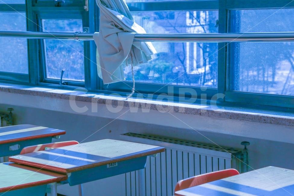 학교, 파랑, 겨울, 교실, 연출사진