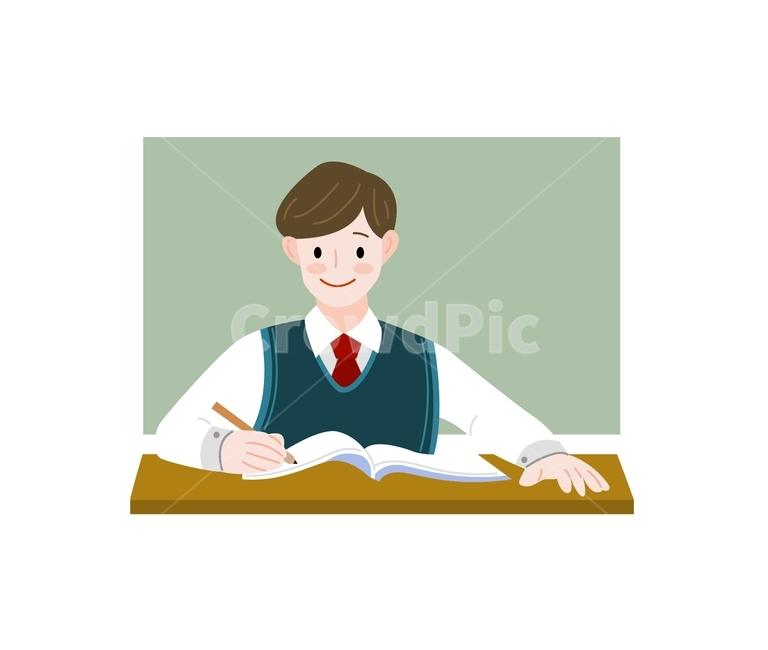 삽화, 공부, 학생, 교복, 남학생
