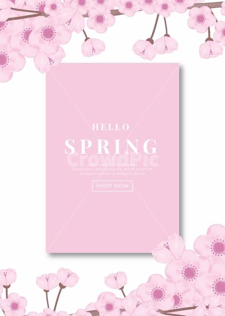 일러스트, 봄, 꽃, 자연, 흰색