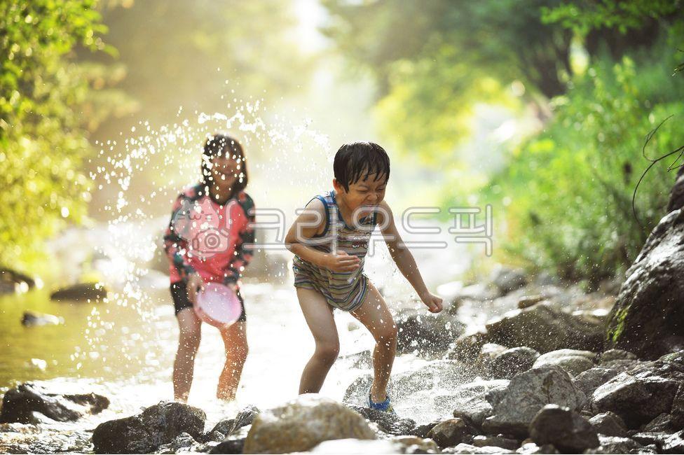 피서, 여름, 물놀이, 계곡, 남매