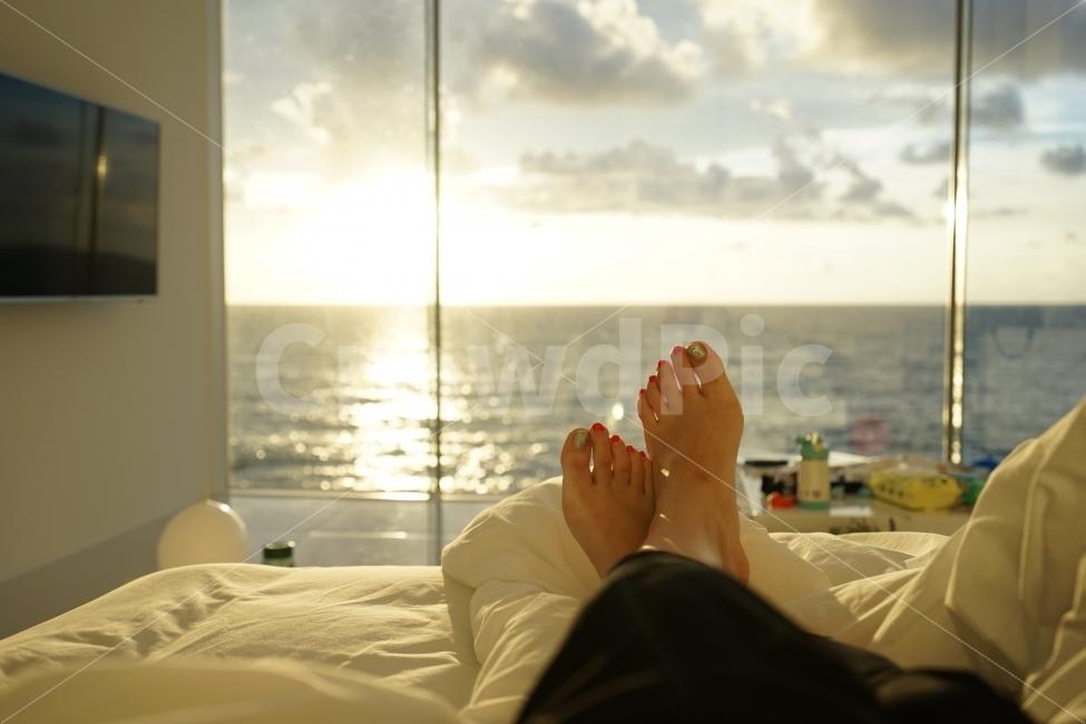 아침, 일출, 바다, 구름, 발
