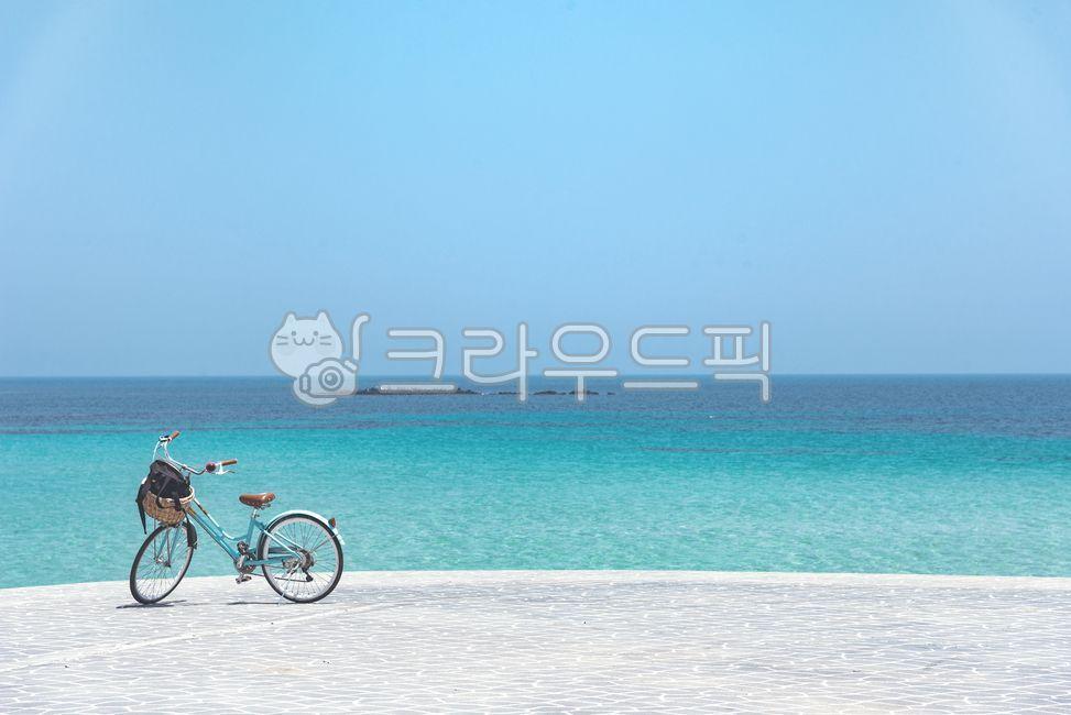 bicycle, vehicle, 자전거, 바다, 하늘