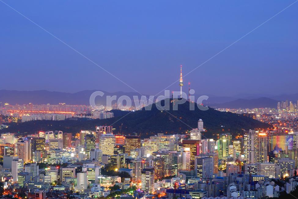 서울, 야경, 빌딩, 고층빌딩, 남산