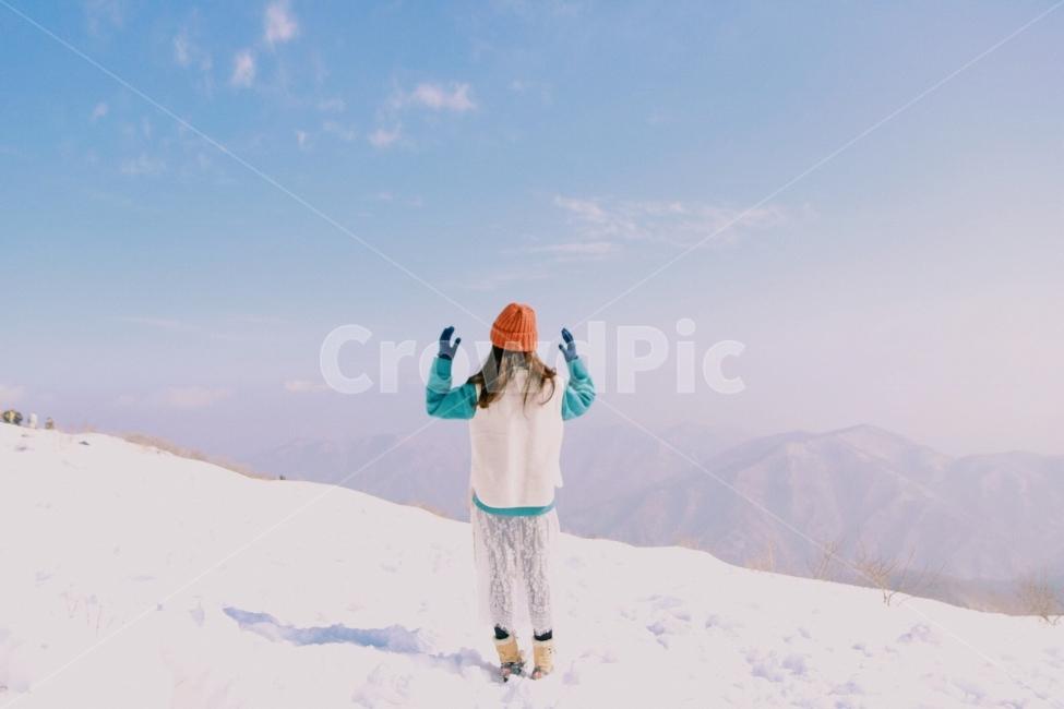 등산, 겨울, 덕유산, 설경, 여자