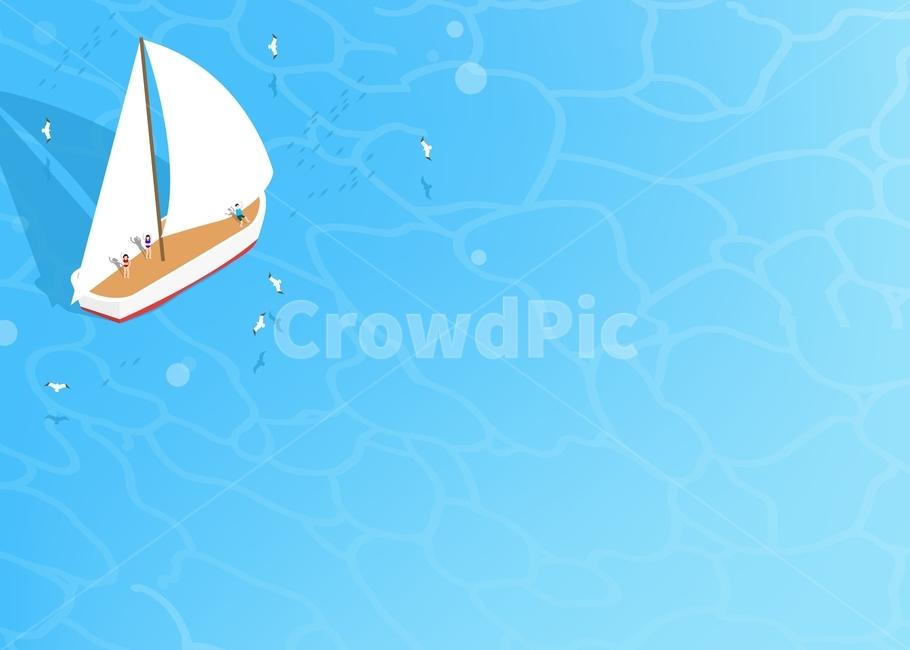 바다, 물결, 배, 돛단배, 갈매기