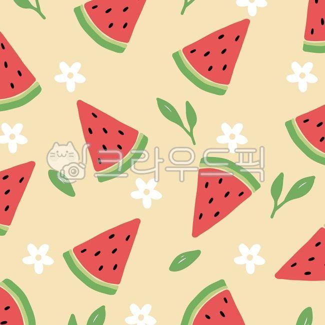수박, 여름, 패턴, 시원한, 배경