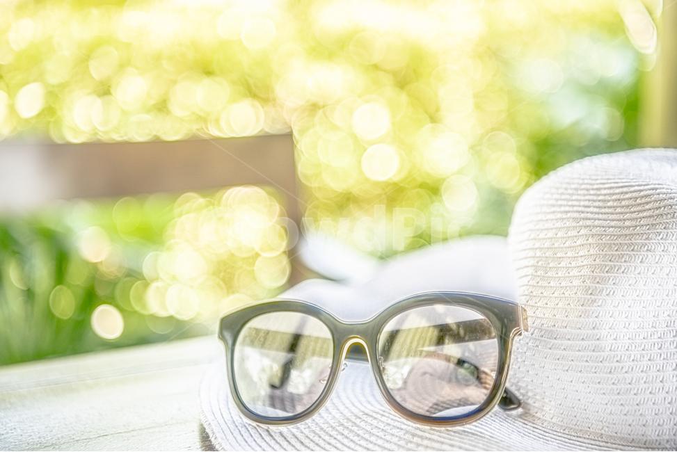 안경, 모자, 여름, 해변, 풀빌라