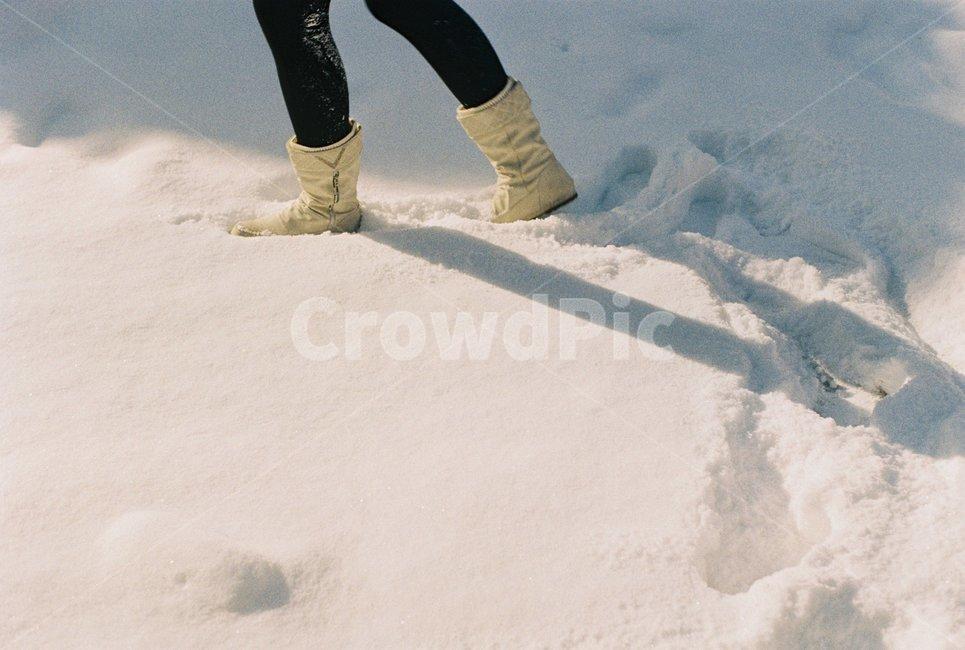 눈, 발, 첫눈, 겨울, 부츠