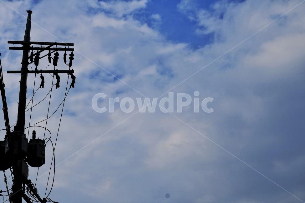 전봇대, 하늘, 구름, 감성, iphone7