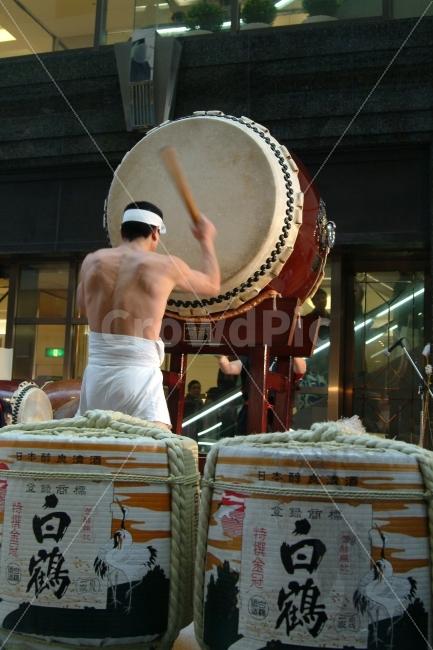 북, 사람, 북치는사람, 일본, 전통