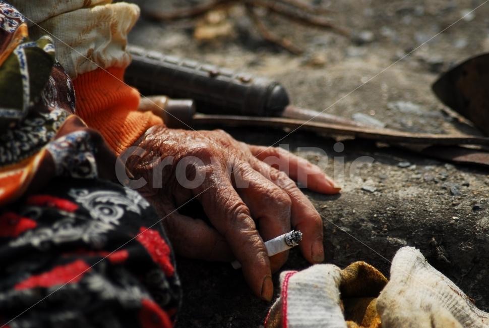 할머니, 휴식, 담배, 삶, 인간