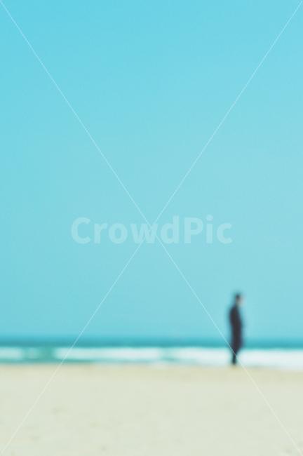 실루엣, 그리움, 바닷가, 시선흐림, 감성