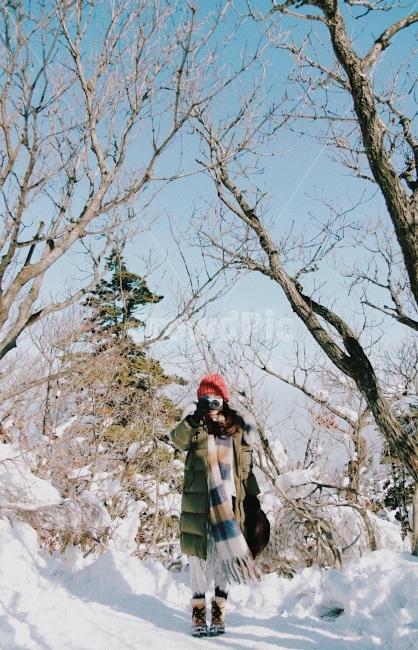 겨울, 산, 덕유산, 감성사진, 여자