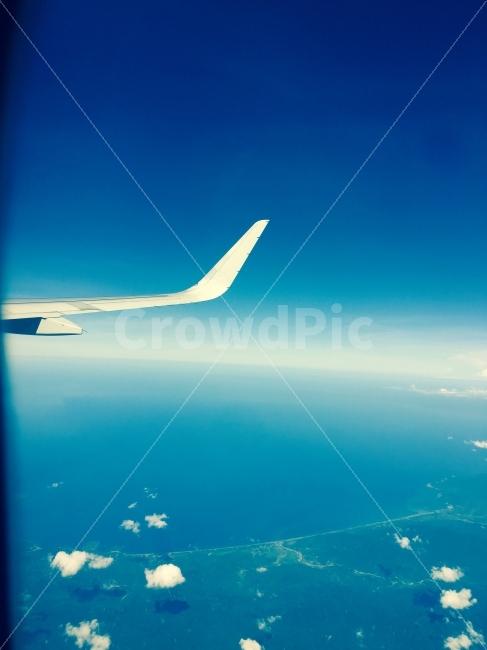 비행기, 하늘, 구름, 날개, 여행