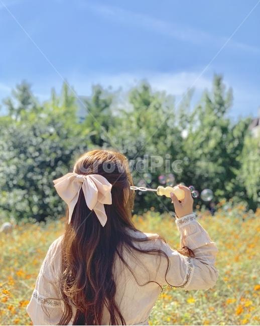 비눗방울, 인물, 리본, ribbon, flowers
