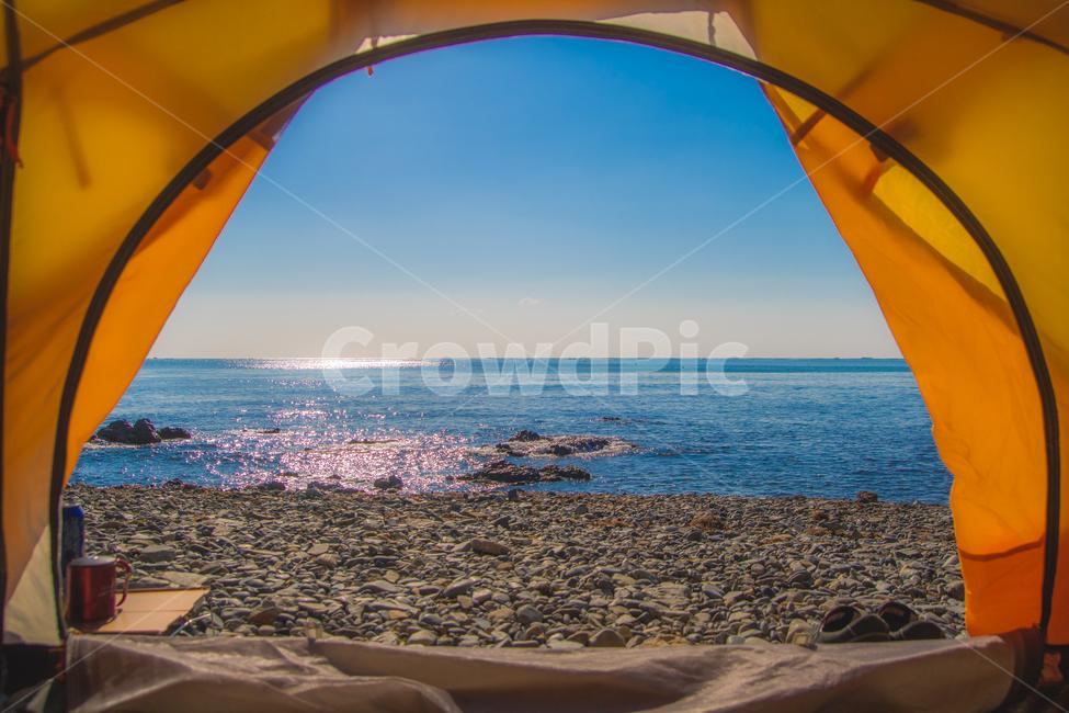 하늘, 바다, 캠핑, 텐트, 백패킹