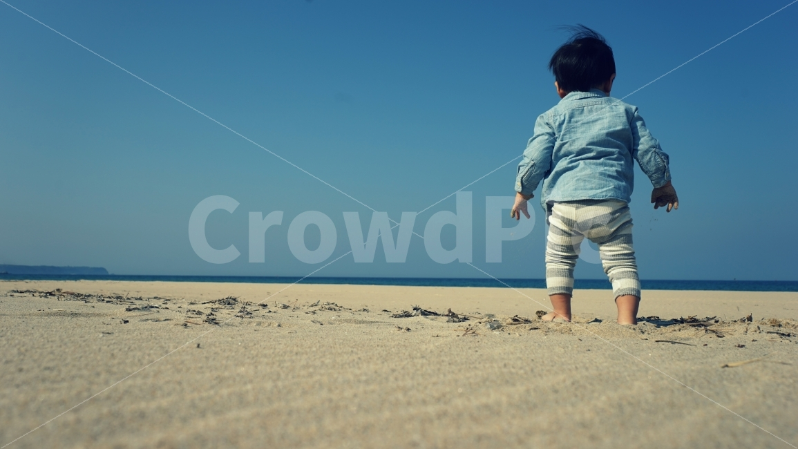아기, 바다, 모래, 바닷가, 하늘