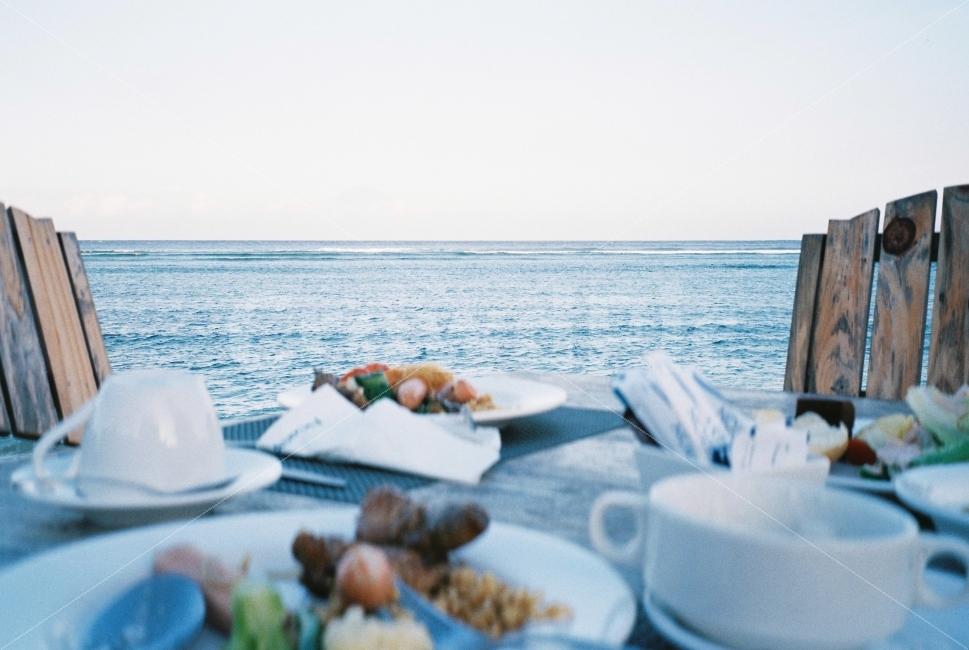 바다, 아침, 식사, 파도, 해변