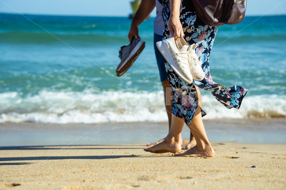 해운대, 연인, 맨발, 모래사장, couple