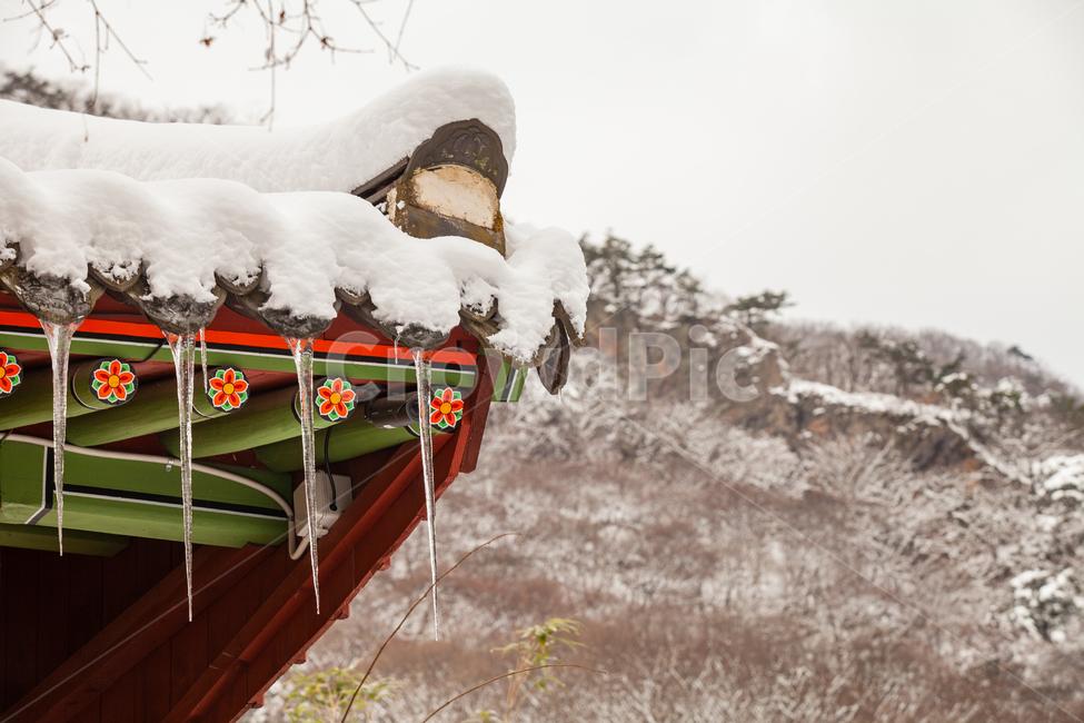 전통, 사찰, 사찰풍경, 겨울, 고드름