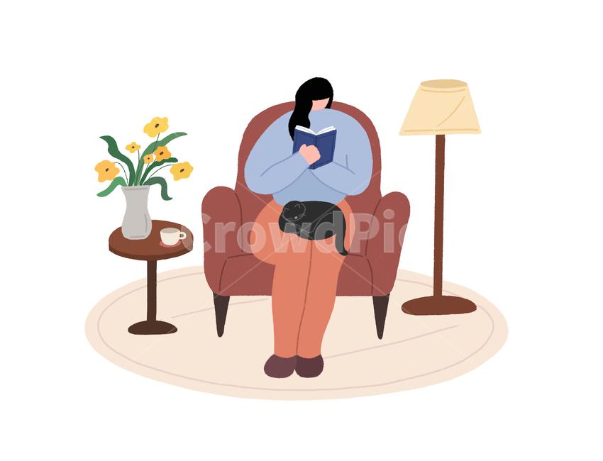 여자, 가구, 집안, 책, 여유