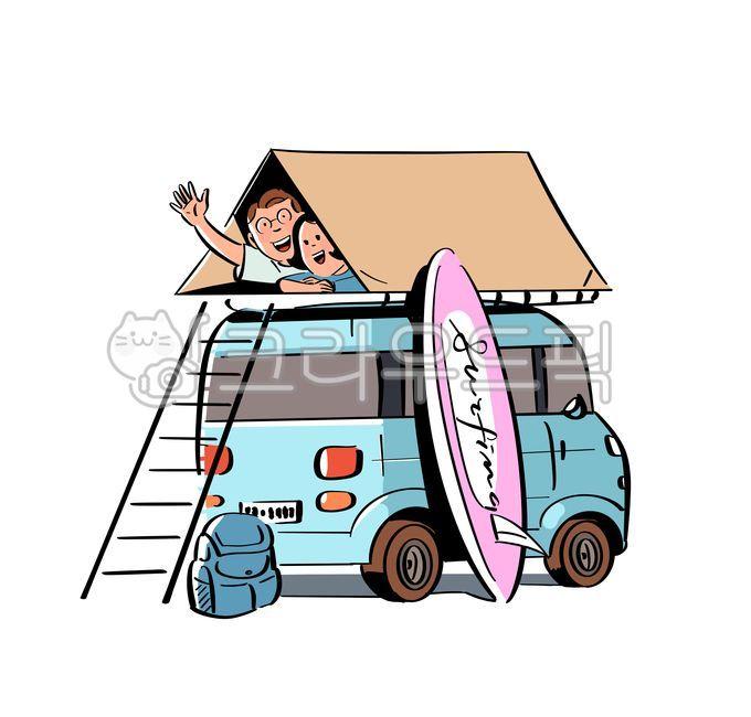 캠핑, 캠핑카, 텐트, 자동차, 가족