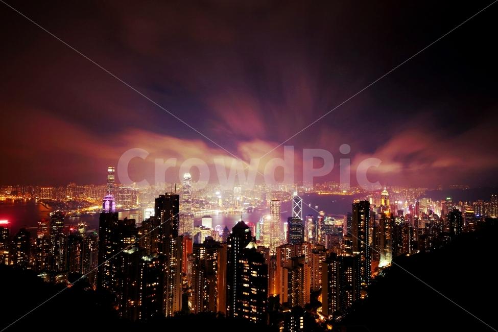 홍콩, 야경, 풍경, 밤, 홍콩야경