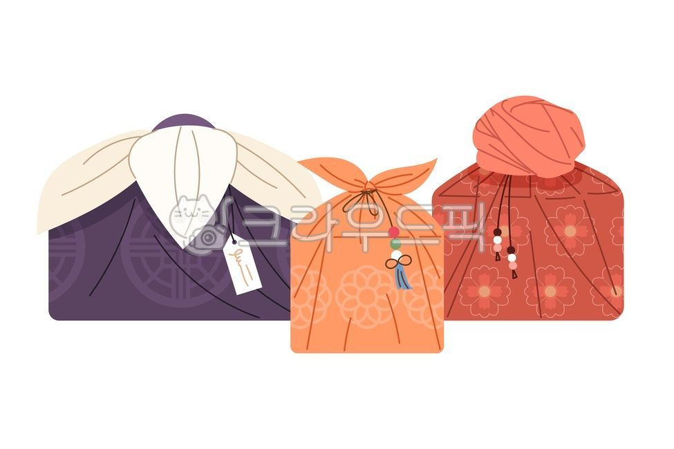 선물보따리, 일러스트, 추석, 가을, 디자인