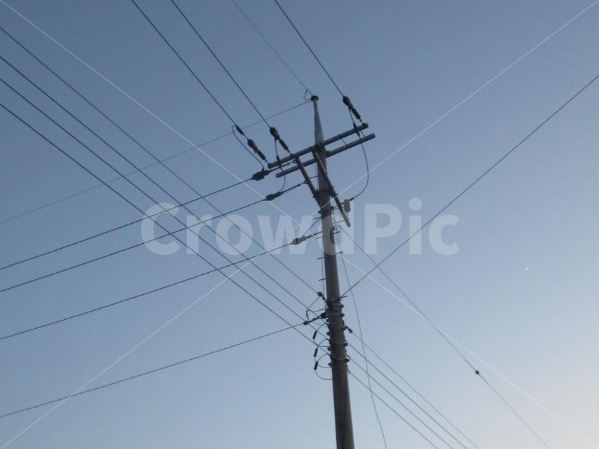 하늘, 전봇대, 우회길, 산책, 전깃줄