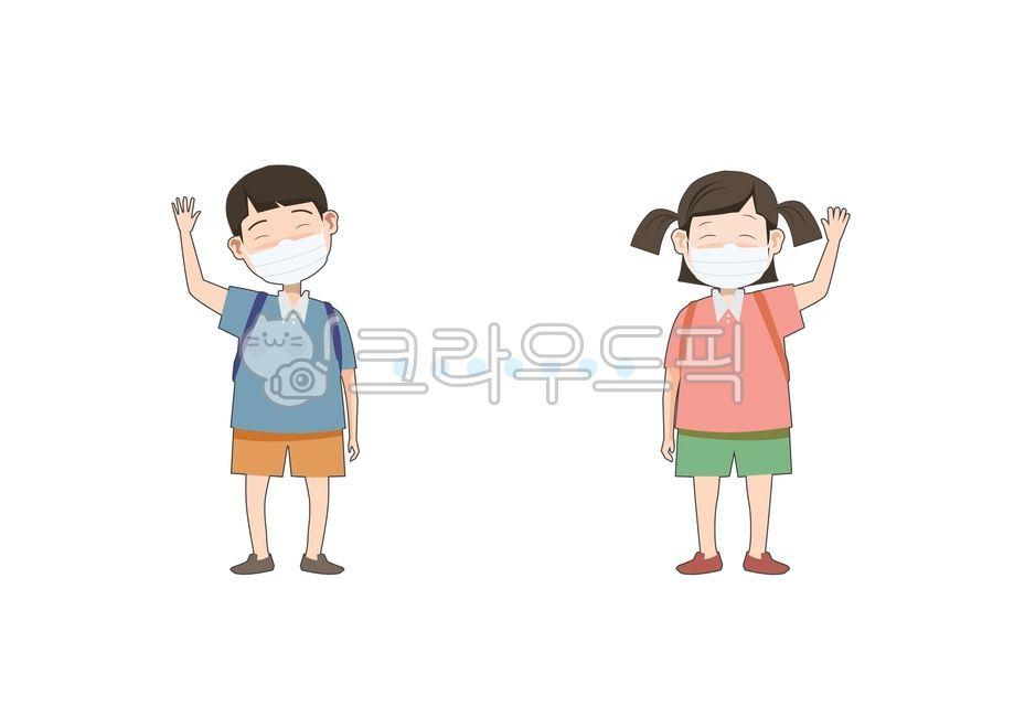 어린이캐릭터, 사회적거리두기, 마스크, 실내, 실외