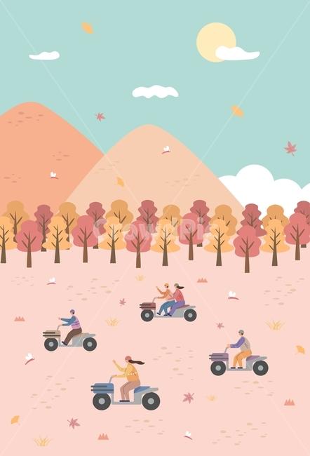 가을, 단풍, 단풍잎, 사륜바이크, 바이크