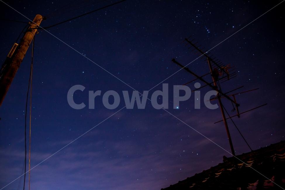야경, 별, 시골, 별자리, 시골의밤하늘