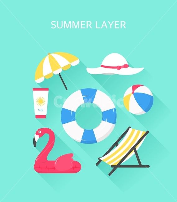 여름, 시즌, 계절, 레이어, 모음