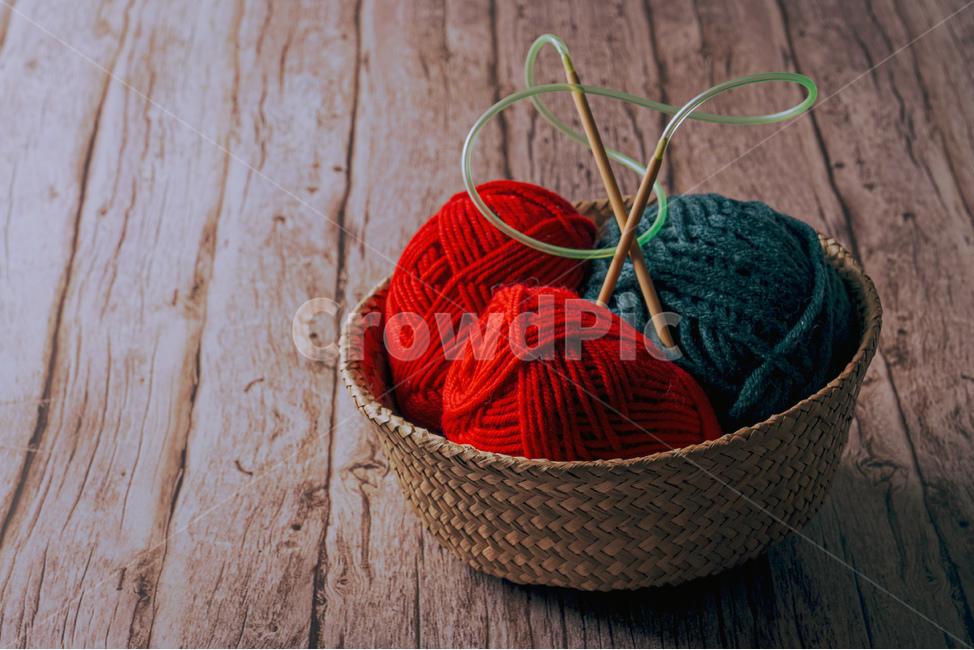 뜨개질, 털실, 겨울, 라탄바구니, 뜨개질바늘