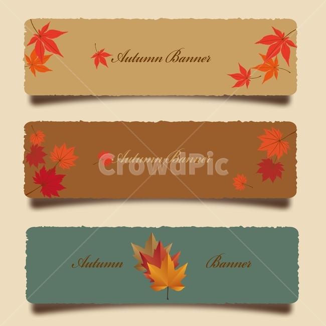 가을, 일러스트레이션, 배너, 프레임, 그래픽