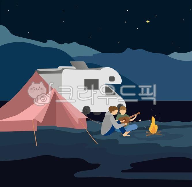 여름밤, 휴가, 캠핑, 여름레져, 여름일러스트공모전