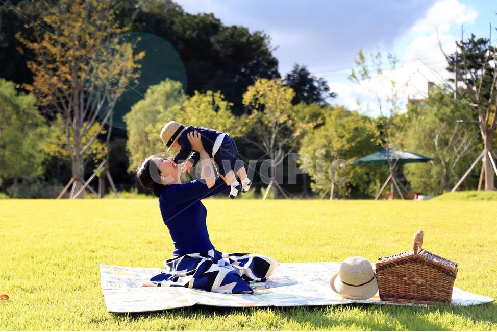 아기, 엄마, 공원, 소풍, 피크닉