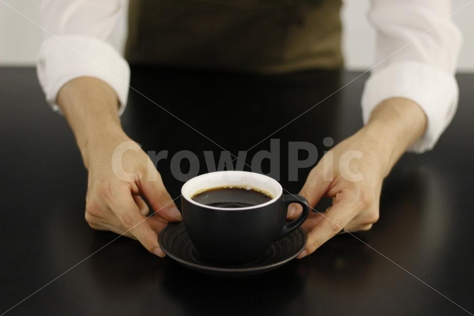 커피, 카페, 바리스타, 사람, 서빙