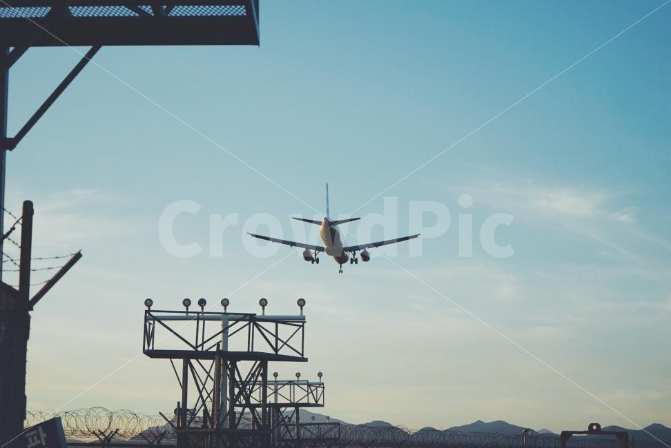 비행기, 착륙, 감성사진, 감성, 공항