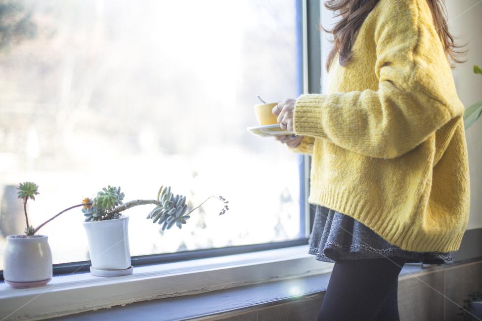 커피, 카페라떼, 라떼, 노란색, 니트