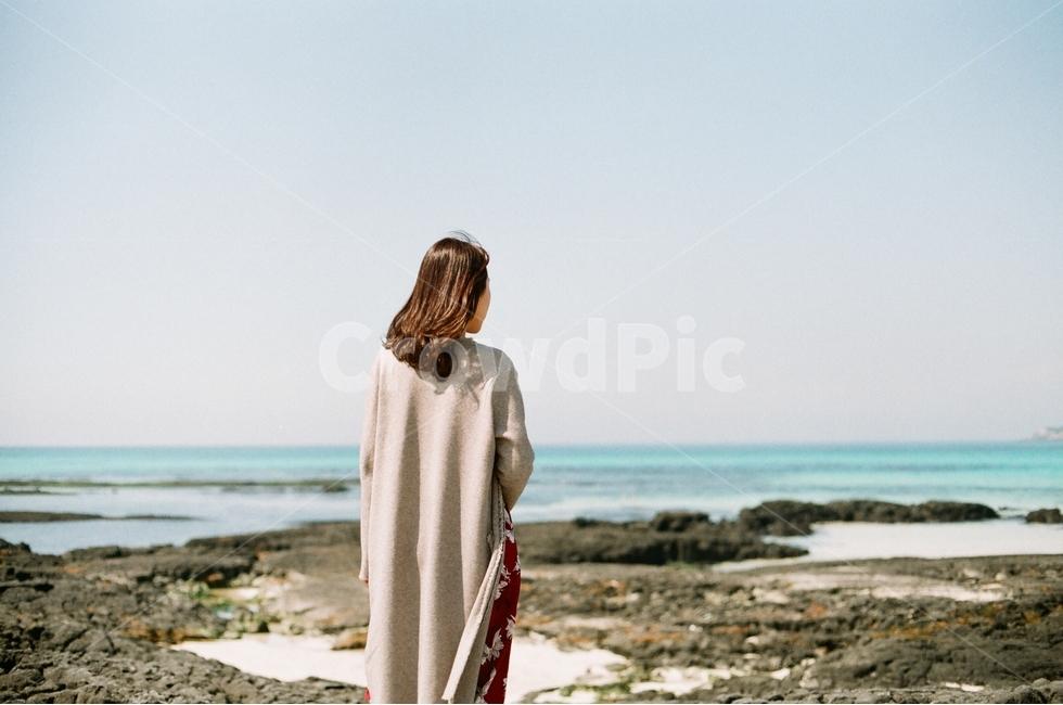 자연, 바다, 해변, 사람, 뒷모습