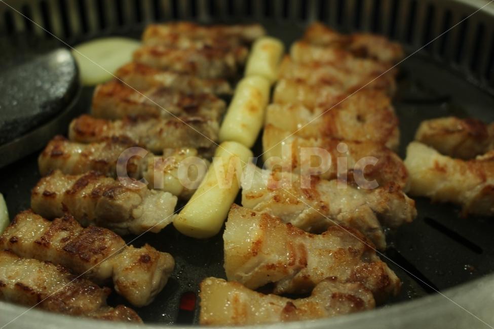 돼지고기, 삼겹살, 꼬치, 떡구이, 회식