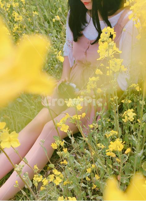 봄꽃, 유채꽃, 인물사진, 꽃밭, 여성